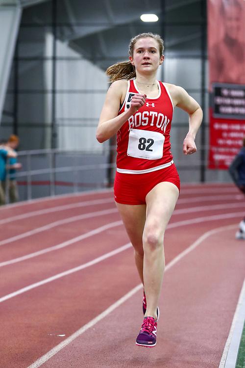 womens 3000 meters, BU, Veronica Kriss<br /> Boston University Scarlet and White<br /> Indoor Track & Field, Bruce LeHane