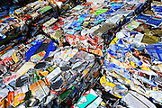 Crushed aluminum cans await collection at the waste disposal center in Kamikatsu Town in Shikoku, Japan. The town, whose residents number just over 2,000 people, has implemented a waste recycling policy that aims at eliminating waste entirely within the next 12 years.