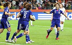 17.07.2011, Commerzbankarena, Frankfurt, GER, FIFA Women Worldcup 2011, Finale,  Japan (JPN) vs. USA (USA), im Bild:  .Torjubel / Jubel  nach dem 1:1 durch Aya Miyama (Japan) (vorne) mit Yuki Nagasato (Japan / Potdsam), Karina Maruyama (Japan) und Nahomi Kawasumi (Japan) (R) .. // during the FIFA Women Worldcup 2011, final, Japan vs USA on 2011/07/11, FIFA Frauen-WM-Stadion Frankfurt, Frankfurt, Germany.   EXPA Pictures © 2011, PhotoCredit: EXPA/ nph/  Mueller       ****** out of GER / CRO  / BEL ******