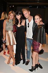 Left to right, MILLIE MACKINTOSH, LILAH PARSONS, JACK FOX and ROSIE FORTESCUE at the Gyunel Spring Summer 2015 fashion show as part of London Fashion week 2015 held at Victoria House, Bloomsbury Square, London on 12th September 2014.
