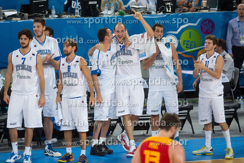 Team Italy celebrate victory during basketball match between national team of Italy and Spain at Eurobasket 2013 on September 16, 2013 in SRC Stozice, Ljubljana, Slovenia. (Photo By Matic Klansek Velej / Sportida.com)