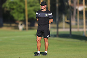 Forest Green Rovers manager, Mark Cooper watches the training during the Forest Green Rovers Training session at Browns Sport and Leisure Club, Vilamoura, Portugal on 23 July 2017. Photo by Shane Healey.