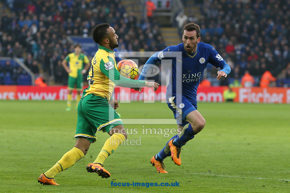 Nathan Redmond of Norwich and Christian Fuchs of Leicester City in action during the Barclays Premier League match at the King Power Stadium, Leicester<br /> Picture by Paul Chesterton/Focus Images Ltd +44 7904 640267<br /> 27/02/2016