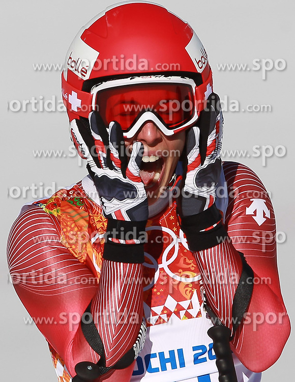 12.02.2014, Rosa Khutor Alpine Resort, Krasnaya Polyana, RUS, Sochi, 2014, Abfahrt, Damen, im Bild Goldmedaillen Gewinnerin Dominique Gisin (SUI) // Olympic Champion Dominique Gisin of Switzerland during the ladies downhill to the Olympic Winter Games 'Sochi 2014' at the Rosa Khutor Alpine Resort, Krasnaya Polyana, Russia on 2014/02/12. EXPA Pictures &copy; 2014, PhotoCredit: EXPA/ Stefan Matzke <br /> <br />  *****ATTENTION - OUT of GER*****
