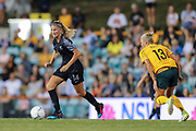 Katie Bowen in possession during the Cup of Nations Women's Football match, New Zealand Football Ferns v Matildas, Leichhardt Oval, Thursday 28th Feb 2019. Copyright Photo: David Neilson / www.photosport.nz