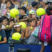 2019 US Open Tennis Tournament- Day Six.  Coco Gauff of the United States signing autographs after her match against Naomi Osaka of Japan  in the Women's Singles Round three match on Arthur Ashe Stadium during the 2019 US Open Tennis Tournament at the USTA Billie Jean King National Tennis Center on August 31st, 2019 in Flushing, Queens, New York City.  (Photo by Tim Clayton/Corbis via Getty Images)