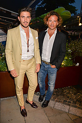 Left to Right, Thomas Langmann and Manuele Malenotti at the Aspall Tennis Classic Players Party hosted by Aspall and Taylor Morris Eyewear at Bluebird, 350 King's Road, Chelsea, London England. 28 June 2017.