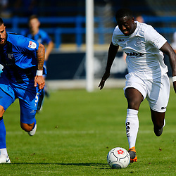 Dover's Nortei Nortey on the ball during the pre-season friendly match between Dover Athletic and Gillingham FC at Crabble Stadium, Kent on 21 July 2018. Gillingham ran out 3 to nothing winners. Photo by Matt Bristow.