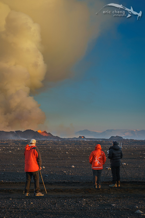 PHOTO BY RAGNAR SIGURDSSON. Eric Cheng and the Iceland team during the DJI Feats volcano shoot at the Holuhraun volcano eruption, Bardarbunga volcanic system, Iceland. Eric is piloting a DJI Phantom 2.