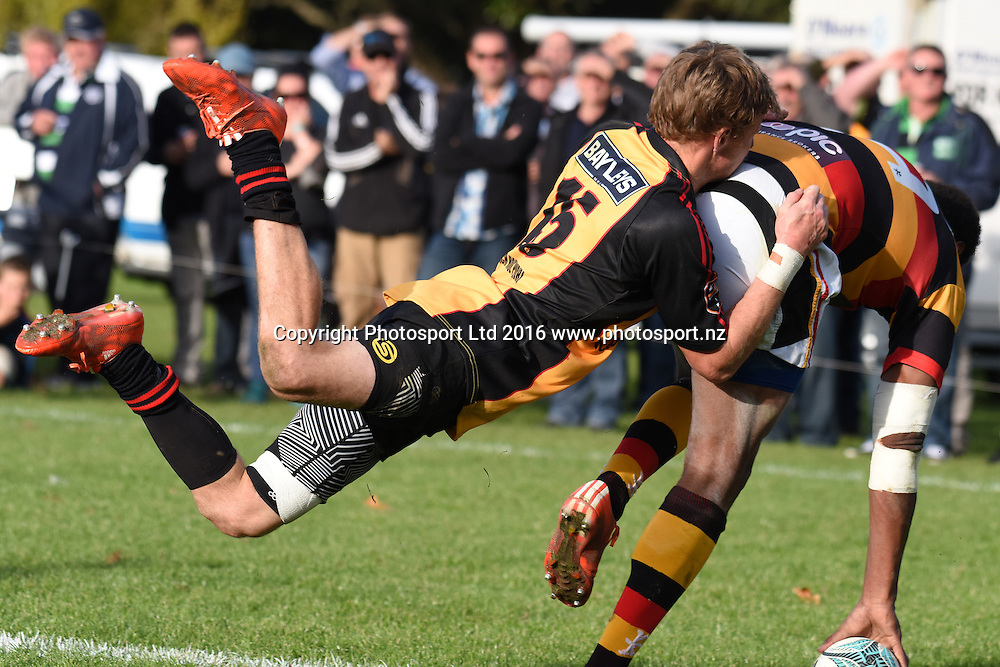 Iliesa Ratuva Tavuyara scores during the Ranfurly Shield match - Waikato vs Thames Valley at Paeroa Domain, Paeroa, New Zealand on the 6th June 2016. Photo: Jeremy Ward / www.photosport.nz