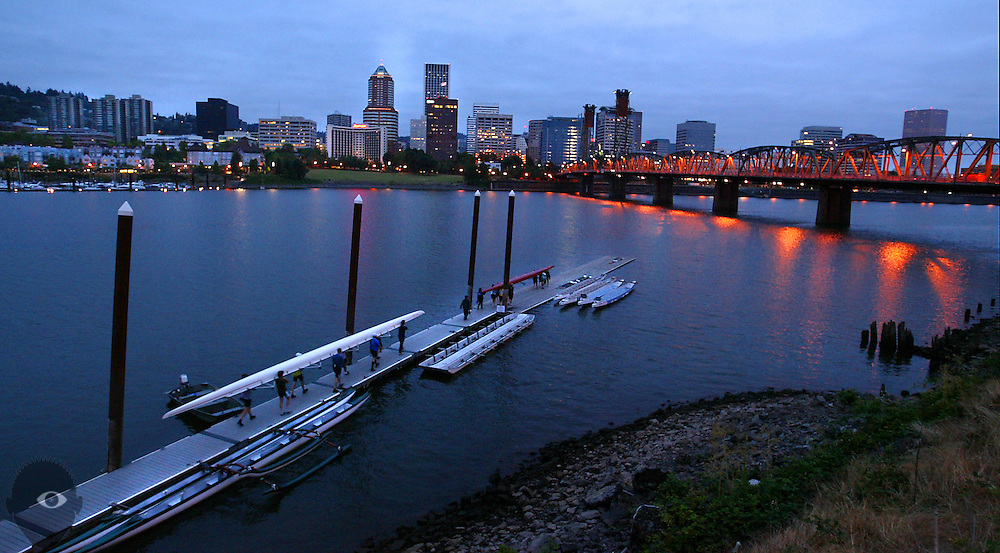 Members of the rowing club Station L, based out of the Portland Boathouse, put their boats into the Willamette early mornings. Rowing in Portland is popular and is a draw for adults as well as youth...