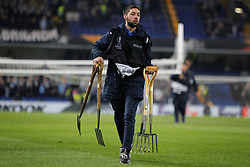 February 21, 2019 - London, Greater London, United Kingdom - Chelsea groundsman during UEFA Europa League Round of 32 2nd Leg between Chelsea and Malmo FF at Stamford Bridge stadium, London, England on 21 Feb 2019. (Credit Image: © Action Foto Sport/NurPhoto via ZUMA Press)