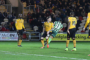 Lyle Taylor of AFC Wimbledon scores straight from kick off during the Sky Bet League 2 match between Newport County and AFC Wimbledon at Rodney Parade, Newport, Wales on 19 December 2015. Photo by Stuart Butcher.