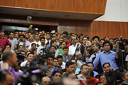 October 3, 2017 - Kathmandu, NP, Nepal - Suppporters and Participants attending the press conference organized to announce the unification of three parties including CPN-UML, CPN (Maoist Center) and Naya Shakti Nepal on Tuesday, October 03, 2017  (Credit Image: © Narayan Maharjan/NurPhoto via ZUMA Press)