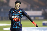 Arsenal goalkeeper Petr Cech warms up ahead of the Capital One Cup Fourth Round match between Sheffield Wednesday and Arsenal at Hillsborough, Sheffield, England on 27 October 2015. Photo by Aaron Lupton.