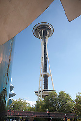 United States, Washington, Seattle, Space Needle and Experience Music Project and Science Fiction Museum
