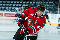 KELOWNA, CANADA - APRIL 8: Keoni Texeira #44 of the Portland Winterhawks warms up with a shot on net against the Kelowna Rockets on April 8, 2017 at Prospera Place in Kelowna, British Columbia, Canada.  (Photo by Marissa Baecker/Shoot the Breeze)  *** Local Caption ***