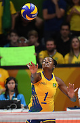 RIO DE JANEIRO, BRAZIL - AUGUST 16:<br /> <br /> Fabiana Claudino #1 of Brazil in action during the Women\'s Quarterfinal match between China and Brazil on day 11 of the Rio 2106 Olympic Games at the Maracanazinho on August 16, 2016 in Rio de Janeiro, Brazil.<br /> ©Exclusivepix Media