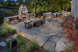 19595 Aberlour rear exterior landscaping Outdoor fireplace