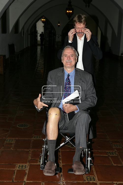 EXCLUSIVE..13th May 2008, Santa Barbara, California. Actor John Cleese arrives at Santa Barbara court house for his divorse hearing. The aging British, Monty Python star arrived in a wheelchair and showed off his scars from a recent knee operation. PHOTO © JOHN CHAPPLE / REBEL IMAGES.john@chapple.biz     www.chapple.biz