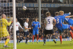 Hull's Paul McShane scores a goal during extra time - Photo mandatory by-line: Mitchell Gunn/JMP - Tel: Mobile: 07966 386802 30/10/2013 - SPORT - FOOTBALL - White Hart Lane - London - Tottenham Hotspur v Hull City - Capital One Cup - Forth Round