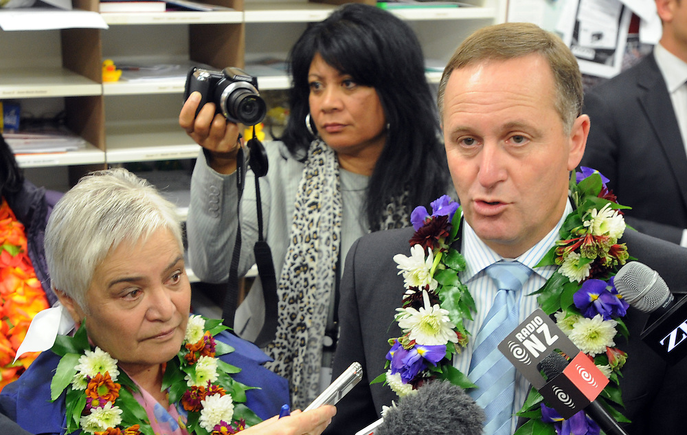 Prime Minister John Key, right and Associate Minister of Health Tariana Turia at the announcement of Rheumatic Fever testing at schools, the Holy Family School, Porirua, New Zealand, Wednesday, May 09, 2012. Credit:SNPA / Ross Setford
