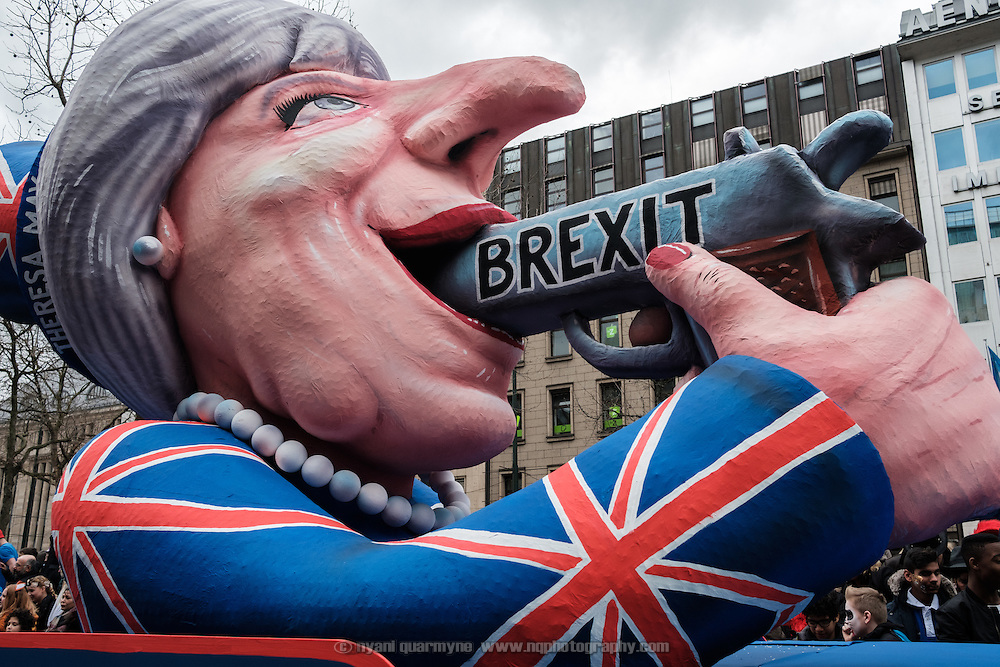 A float featuring Brexit and UK Prime Minister Theresa May during the traditional Karneval parade in Düsseldorf, Germany on 27 February 2017.