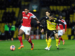 Bristol City's Jay Emmanuel-Thomas holds off Watford's Lewis McGugan - Photo mandatory by-line: Dougie Allward/JMP - Tel: Mobile: 07966 386802 14/01/2014 - SPORT - FOOTBALL - Vicarage Road - Watford - Watford v Bristol City - FA Cup - Third Round - replay