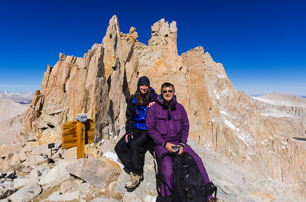 Hikers on the Mount Whitney trail at Trail Crest, John Muir Wilderness, Sierra Nevada Mountains, California USA
