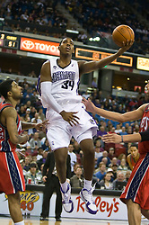 November 27, 2009; Sacramento, CA, USA;  Sacramento Kings forward Jason Thompson (34) shoots during the third quarter against the New Jersey Nets at the ARCO Arena. Sacramento defeated New Jersey 109-96.