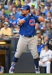 June 13, 2018 - Milwaukee, WI, U.S. - MILWAUKEE, WI - JUNE 13: Chicago Cubs Outfield Kyle Schwarber (12) at the plate during a MLB game between the Milwaukee Brewers and Chicago Cubs on June 13, 2018 at Miller Park in Milwaukee, WI. The Brewers defeated the Cubs 1-0.(Photo by Nick Wosika/Icon Sportswire) (Credit Image: © Nick Wosika/Icon SMI via ZUMA Press)