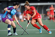 Monkstown's Nicola Evans challenges with Krylatskoye's Galina Timshina during the 7/8 play-off at the EHCC 2017 at Den Bosch HC, The Netherlands, 5th June 2017