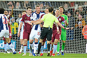 The Aston Villa players appeal for hand ball during the EFL Sky Bet Championship match between West Bromwich Albion and Aston Villa at The Hawthorns, West Bromwich, England on 7 December 2018.