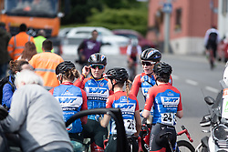 WNT Rotor Pro Cycling riders wait for the final result after a photo finish on Stage 2 of 2019 Festival Elsy Jacobs, a 111.1 km road race starting and finishing in Garnich, Luxembourg on May 12, 2019. Photo by Balint Hamvas/velofocus.com
