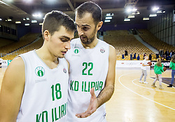 Anze Germ and Stipe Modric  of Ilirija after the basketball match between KK Ilirija and KK Petrol Olimpija in 10th Round of Nova KBM Basketball League 2017/18, on December 17, 2017 in Hala Tivoli, Ljubljana, Slovenia. Photo by Vid Ponikvar / Sportida