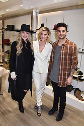 Left to right, BC Ballas, Ashley Roberts and Mark Ballas at a party to launch Ashley Robert's new footwear range Allyn held ay Larizia, 74 St.John's Wood High Street, London England. 8 February 2017.