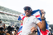 October 27-29, 2017: Mexican Grand Prix. Lewis Hamilton (GBR), Mercedes AMG Petronas Motorsport, F1 W08 celebrates winning his 4th world driver's championship.