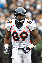 December 19, 2010; Oakland, CA, USA;  Denver Broncos tight end Daniel Graham (89) in between plays against the Oakland Raiders during the first quarter at Oakland-Alameda County Coliseum. Oakland defeated Denver 39-23.
