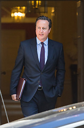 "Downing Street, London, June 6th 2016. British Prime Minister David Cameron leaves 10 Downing Street ahead of joining a cross party platform including Labour's Harriet Harman, the LibDem's Tim Farron and the Green Party's Natalie Bennett to accuse the Leave campaign of a ""con trick"" ahead of the EU referendum."