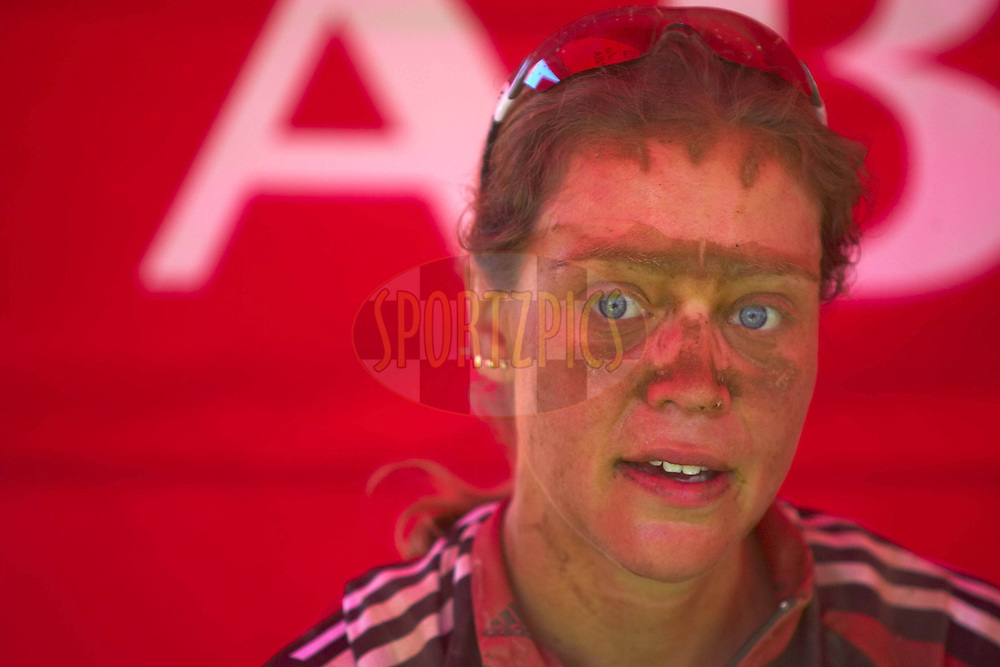 WESTERN CAPE, SOUTH AFRICA -  30 March 2008, womens stage winner and overall leader Pia Sundstedt of Rocky Mountain Haywood recovers at the Calitzdorp Spa during stage two of the 2008 Absa Cape Epic Mountain Bike stage race from Saasveld Campus Nelson Mandela Metropolitan University in George to Calitzdorp Spa, Calitzdorp in the Western Cape, South Africa..Photo by Gary Perkin/SPORTZPICS
