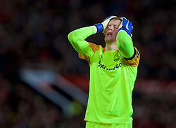 MANCHESTER, ENGLAND - Sunday, October 28, 2018: Everton's goalkeeper Jordan Pickford looks dejected during the FA Premier League match between Manchester United FC and Everton FC at Old Trafford. (Pic by David Rawcliffe/Propaganda)