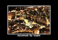 Ålesund 20041123. Nattbilde av Ålesund og Brosundet fotografert fra Fjellstua på Akslafjellet. <br /> <br /> Photo of Ålesund city. This picture is taken at Fjellstua on the mountain called Aksla.<br /> <br /> Foto: Svein Ove Ekornesvåg