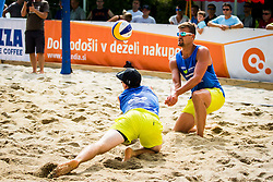 Jernej Potocnik of Debitel and Nejc Zemljak of Debitel during Qlandia Beach Challenge 2015 and Beach Volleyball Slovenian National Championship 2015, on July 25, 2015 in Kranj, Slovenia. Photo by Ziga Zupan / Sportida
