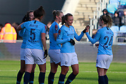 Manchester City Women celebrate the second goal for midfielder Gemma Bonner (4)  during the FA Women's Super League match between Manchester City Women and Brighton and Hove Albion Women at the Sport City Academy Stadium, Manchester, United Kingdom on 27 January 2019.