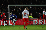 Picture by David Horn/Focus Images Ltd +44 7545 970036<br /> 25/01/2014<br /> Steven Naismith of Everton scores his second goal of the game to make it 0-2 during the The FA Cup match at the Lamex Stadium, Stevenage.