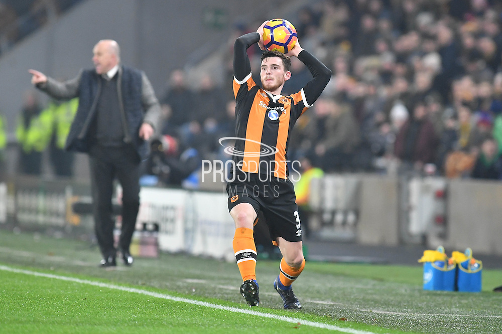 Hull City defender Andrew Robertson (3) takes throw in during the Premier League match between Hull City and Everton at the KCOM Stadium, Kingston upon Hull, England on 30 December 2016. Photo by Ian Lyall.