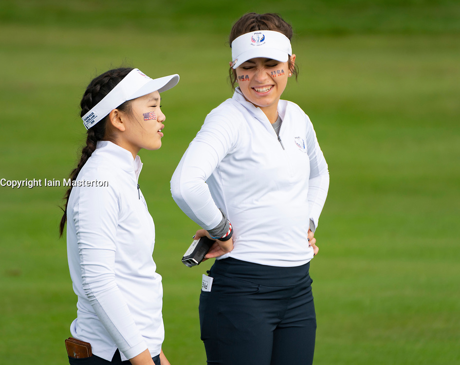 Auchterarder, Scotland, UK. 10 September 2019. Day one of the Junior Solheim Cup 2019 at the Centenary Course at Gleneagles. Tuesday Morning Foursomes. Pictured Lucy Li (l) and Sadie Englemann of USA. Iain Masterton/Alamy Live News