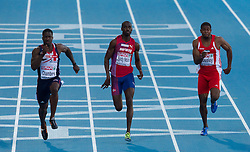 Dwain Chambers of Great Britain, Jaysuma Saidy Ndure of Norway and Ryan Moseley of Austria compete in the Men 100m Semifinal during day two of the 20th European Athletics Championships at the Olympic Stadium on July 28, 2010 in Barcelona, Spain. (Photo by Vid Ponikvar / Sportida)