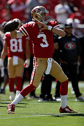 SANTA CLARA, CA - OCTOBER 07: C.J. Beathard #3 of the San Francisco 49ers warms up prior to their game against the Arizona Cardinals during their NFL game at Levi's Stadium on October 7, 2018 in Santa Clara, California. (Photo by Jason O. Watson/Getty Images)