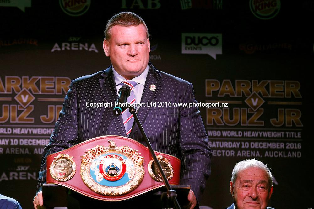 Dean Lonergan, Final press conference before the December 10, Parker v Ruiz, WBO world boxing heavyweight title fight. Rec Bar, Auckland. 8 December 2016 / www.photosport.nz